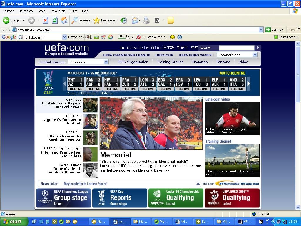 UEFA website Spartak Moskou HFC Haarlem
